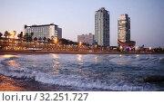 Купить «Night view of skyscrapers from port - center of nightlife at Barcelona. Catalonia, Spain», видеоролик № 32251727, снято 26 апреля 2019 г. (c) Яков Филимонов / Фотобанк Лори