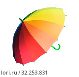Купить «Разноцветный яркий красивый зонтик на белом фоне изолировано», фото № 32253831, снято 12 сентября 2019 г. (c) Наталья Волкова / Фотобанк Лори