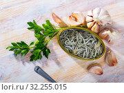 Купить «Can of natural elvers in garlic pickle», фото № 32255015, снято 29 марта 2020 г. (c) Яков Филимонов / Фотобанк Лори