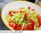 Купить «Salad with fresh cabbage», фото № 32255027, снято 17 ноября 2019 г. (c) Яков Филимонов / Фотобанк Лори