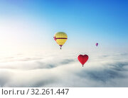 Купить «Три шара в воздухе Three balloons in the blue sky», фото № 32261447, снято 31 августа 2019 г. (c) Baturina Yuliya / Фотобанк Лори