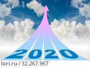 Купить «Year 2020 concept with arrows going up», фото № 32267967, снято 22 февраля 2020 г. (c) Elnur / Фотобанк Лори