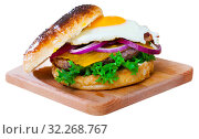 Купить «Hamburger with with fried egg, beef, onion, cheese and lettuce», фото № 32268767, снято 22 октября 2019 г. (c) Яков Филимонов / Фотобанк Лори