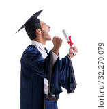 Купить «Student excited at his graduation isolated on white», фото № 32270079, снято 28 июля 2017 г. (c) Elnur / Фотобанк Лори