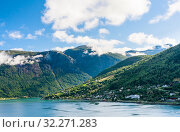Купить «Beautiful fjord view at Olden. Olden is a village and urban area in the municipality of Stryn in Sogn og Fjordane county, Norway», фото № 32271283, снято 4 августа 2020 г. (c) Николай Коржов / Фотобанк Лори