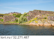 Купить «Coastal fortifications of the island Iso Mustasaari and Commandant's House, Suomenlinna Fortress (or Sveaborg), Helsinki, Finland», фото № 32271487, снято 23 мая 2019 г. (c) Юлия Бабкина / Фотобанк Лори