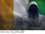 Купить «Composite image of hacker standing with arms crossed », фото № 32274259, снято 16 октября 2019 г. (c) Wavebreak Media / Фотобанк Лори