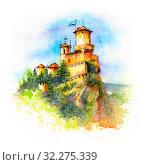 Купить «Guaita fortress in San Marino», иллюстрация № 32275339 (c) Коваленкова Ольга / Фотобанк Лори