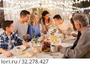 Купить «happy family having birthday party at home», фото № 32278427, снято 15 декабря 2018 г. (c) Syda Productions / Фотобанк Лори