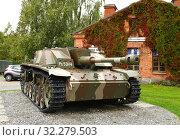 Купить «Sturmgeschutz III (StuG III) assault gun was Germany most-produced fully tracked armoured fighting vehicle. In 1943, Finland bought 30 Sturmgeschutz. It is StuG III Ps.531-14 Vappu», фото № 32279503, снято 17 сентября 2019 г. (c) Валерия Попова / Фотобанк Лори
