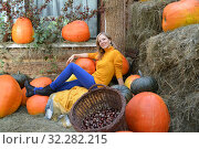 Счастливая молодая женщина сидит среди оранжевых тыкв. Осенняя композиция. Стоковое фото, фотограф Ирина Борсученко / Фотобанк Лори