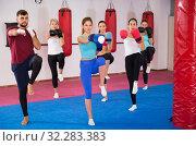 Купить «Group of nice female are doing kick in gym», фото № 32283383, снято 8 октября 2017 г. (c) Яков Филимонов / Фотобанк Лори