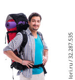 Backpacker with large backpack isolated on white. Стоковое фото, фотограф Elnur / Фотобанк Лори