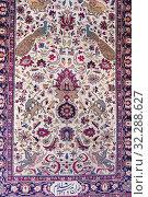 Купить «Traditional Persian carpet, Carpet Museum of Iran,Tehran, Iran.», фото № 32288627, снято 23 апреля 2019 г. (c) age Fotostock / Фотобанк Лори