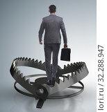 Купить «Man caught in mouse trap in risk business concept», фото № 32288947, снято 21 ноября 2019 г. (c) Elnur / Фотобанк Лори