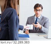 Купить «Businessman in unethical business concept with bribe», фото № 32289383, снято 24 ноября 2017 г. (c) Elnur / Фотобанк Лори