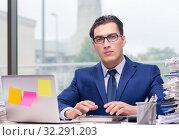 Купить «Workaholic businessman overworked with too much work in office», фото № 32291203, снято 11 октября 2016 г. (c) Elnur / Фотобанк Лори