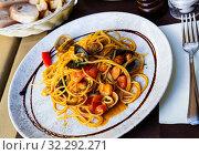 Купить «Mediterranean pasta with seafood», фото № 32292271, снято 18 октября 2019 г. (c) Яков Филимонов / Фотобанк Лори