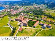 Aerial view of Cantabria University Center CIESE in Comillas, landscape (2019 год). Стоковое фото, фотограф Яков Филимонов / Фотобанк Лори