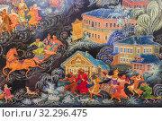 Купить «Palekh traditional miniature, Palekh, Ivanovo region, Russia.», фото № 32296475, снято 7 сентября 2018 г. (c) age Fotostock / Фотобанк Лори