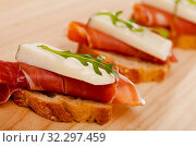 perfect sandwich made with rye bread cheese and Parma ham. Стоковое фото, фотограф Татьяна Яцевич / Фотобанк Лори