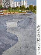 Moscow, Russia - Sept 6. 2019. Public Skate park on the street. Редакционное фото, фотограф Володина Ольга / Фотобанк Лори