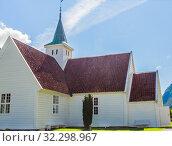 Купить «Norway, Sogn of Fjordane county. White wooden church in Olden», фото № 32298967, снято 6 августа 2020 г. (c) Николай Коржов / Фотобанк Лори
