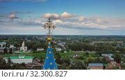 Aerial view on kremlin in Suzdal Russia (2019 год). Редакционное видео, видеограф Михаил Коханчиков / Фотобанк Лори