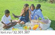Купить «Portrait of cheerful interracial family with two children enjoying picnic on green meadow», видеоролик № 32301387, снято 17 ноября 2019 г. (c) Яков Филимонов / Фотобанк Лори