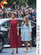 Купить «Queen Letizia of Spain, Crown Princess Leonor, Princess Sofia arrived to Campoamor Theater for the Princesa de Asturias Award 2019 ceremony on October 18, 2019 in Oviedo, Spain», фото № 32303403, снято 18 октября 2019 г. (c) age Fotostock / Фотобанк Лори