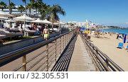 Protaras, Cyprus - Oct 12. 2019. Promenade along the Famous Sunrise Beach. Редакционное видео, видеограф Володина Ольга / Фотобанк Лори
