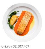 Купить «Plate of tasty fish dish – slice of roasted salmon with bell peppers and potato», фото № 32307467, снято 22 октября 2019 г. (c) Яков Филимонов / Фотобанк Лори