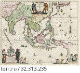 Купить «Map of South-East Asia, including Indonesia, India, Ceylon etc, published by Willem Janszoon Blaeu in 1635.», фото № 32313235, снято 1 января 2019 г. (c) age Fotostock / Фотобанк Лори