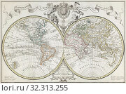 World Map. A Dutch edition of Guillaume De L'Isle's double hemisphere map of the World first published in Paris in 1720. It includes marked routes of major... Стоковое фото, фотограф Classic Vision / age Fotostock / Фотобанк Лори
