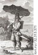 Купить «Robinson Crusoe, eponymous hero of English author Daniel Defoeâ.s 1719 novel. Daniel Defoe, 1660-1731, was born Daniel Foe. After an 18th century work by Bernard Picart.», фото № 32313371, снято 7 июля 2019 г. (c) age Fotostock / Фотобанк Лори