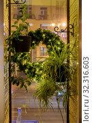 Купить «Зелёные цветы в окне с видом на зимнюю  улицу  холодным вечером, когда начинается метель. Москва.», фото № 32316603, снято 4 января 2018 г. (c) Владимир Устенко / Фотобанк Лори