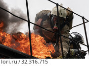Купить «Firefighters of Fire Department of Federal Fire Service in Kamchatka during fire extinguishing, training to overcome fire zone of psychological training for firefighters», фото № 32316715, снято 7 августа 2019 г. (c) А. А. Пирагис / Фотобанк Лори