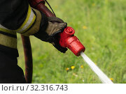 Купить «Firefighter of Fire Department of Federal Fire Service in Kamchatka Territory during fire extinguishing, training to overcome fire zone of psychological training for firefighters», фото № 32316743, снято 7 августа 2019 г. (c) А. А. Пирагис / Фотобанк Лори