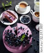 Купить «festive cake, blueberry and blackberry sponge cake», фото № 32317007, снято 13 июля 2019 г. (c) Oksana Zh / Фотобанк Лори