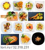 Купить «Set of salmon dishes», фото № 32318231, снято 14 декабря 2019 г. (c) Яков Филимонов / Фотобанк Лори