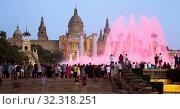 Купить «The Magic Fountains in night of Barcelona, Spain», фото № 32318251, снято 24 июля 2016 г. (c) Яков Филимонов / Фотобанк Лори