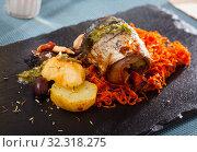 Купить «Scomber fish roll with bacon», фото № 32318275, снято 25 января 2020 г. (c) Яков Филимонов / Фотобанк Лори