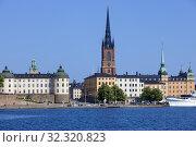 Купить «Sweden, Stockholm - Riddarholmen island and Lake Mälaren.», фото № 32320823, снято 1 августа 2019 г. (c) age Fotostock / Фотобанк Лори