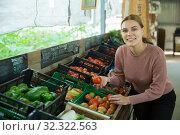 Купить «Woman choosing tomatoes among different varieties», фото № 32322563, снято 17 февраля 2020 г. (c) Яков Филимонов / Фотобанк Лори