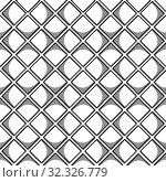 Купить «Abstract seamless geometric pattern with square elements. Simple black and white linear mosaic texture. Vector», иллюстрация № 32326779 (c) Dmitry Domashenko / Фотобанк Лори