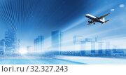 Купить «Plane flying rapidly over the building», фото № 32327243, снято 13 июля 2020 г. (c) Яков Филимонов / Фотобанк Лори