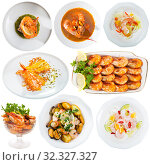 Купить «Set of dishes with shrimps», фото № 32327327, снято 13 ноября 2019 г. (c) Яков Филимонов / Фотобанк Лори