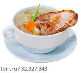 Купить «Thick mutton soup with green peas», фото № 32327343, снято 29 мая 2020 г. (c) Яков Филимонов / Фотобанк Лори