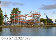 Купить «Attractions in Sarkanniemi Amusement Park. Tampere, Finland», фото № 32327595, снято 18 сентября 2019 г. (c) Валерия Попова / Фотобанк Лори