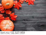 Thanksgiving background. Autumn background with pumpkin, candied oranges and copy space. Top view. Стоковое фото, фотограф Сергей Кочетов / Фотобанк Лори